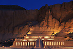 Hatshepsut Egypt, Deir El Bahri Temple, sunrise with lights,New Kingdom; 18th dynasty; West Bank; Theban Mountain; Luxor