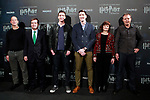 Rafael Gimenez, Sold Out Partner; Eduardo Lopez-Puertas, General Director of IFEMA; English actors James and Oliver Phelps, who played the mischievous twins Fred and George Weasley in the Harry Potter movie saga, Almudena del Rosal Alonso, Deputy Director General of Business Participation at the City Council of Madrid and Robin Stapley, Vice President of GES Events during the opening of Harry Potter: The Exhibition in Madrid. November 16, 2017. (ALTERPHOTOS/Acero)