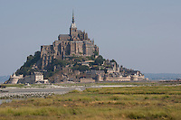 Le Mont-Saint-Michel, Mont Saint-Michel, Mont St-Michel, Mont-St-Michel, Wattenmeer, Watt, bei Ebbe, Normandie, Frankreich, Saint Michael's Mount, Normandy, France, waddensea