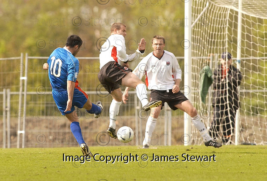 20040508    Copyright Pic: James Stewart.File Name : jspa01_clyde_v_ict.LIAM KEOGH SCORES CALEY'S FIRST....James Stewart Photo Agency 19 Carronlea Drive, Falkirk. FK2 8DN      Vat Reg No. 607 6932 25.Office     : +44 (0)1324 570906     .Mobile  : +44 (0)7721 416997.Fax         :  +44 (0)1324 570906.E-mail  :  jim@jspa.co.uk.If you require further information then contact Jim Stewart on any of the numbers above.........
