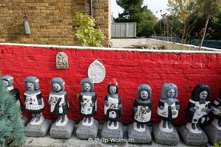Artworks created by Gerard Dalton filled his canalside housing association flat and garden in North Paddington.  Dalton died in September 2019, aged 83.