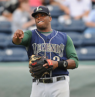 Infielder Delino DeShields Jr. (2) of the Lexington Legends, Class A affiliate of the Houston Astros, prior to a game against the Greenville Drive on August 5, 2011, at Fluor Field at the West End in Greenville, South Carolina. DeShields was a first-round pick (No. 8 overall) of the Astros in the 2010 First-Year Player Draft. (Tom Priddy/Four Seam Images)