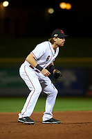 Scottsdale Scorpions third baseman Taylor Sparks (6), of the Cincinnati Reds organization, during an Arizona Fall League game against the Peoria Javelinas on October 20, 2017 at Scottsdale Stadium in Scottsdale, Arizona. the Javelinas defeated the Scorpions 2-0. (Zachary Lucy/Four Seam Images)