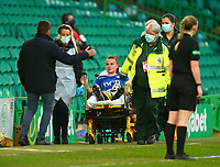 21st April 2021; Celtic Park, Glasgow, Scotland; Scottish Womens Premier League, Celtic versus Rangers; Kirsty Howat of Rangers Women is greeted by Celtic Womens Manager Fran Alonso after she picked up an injury