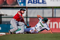 29 July 2018: Vermont Lake Monsters infielder Jeremy Eierman is tagged out at second by Batavia Muckdogs second baseman Luke Jarvis on an attempted steal in the 4th inning at Centennial Field in Burlington, Vermont. The Lake Monsters defeated the Muckdogs 4-1 in NY Penn League action. Mandatory Credit: Ed Wolfstein Photo *** RAW (NEF) Image File Available ***