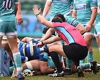 20th March 2021; Recreation Ground, Bath, Somerset, England; English Premiership Rugby, Bath versus Worcester Warriors; Referee Adam Leal indicates a try for Zach Mercer of Bath