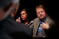 Authors Luis Alberto Urrea and Ana Castillo discuss their work during a panel on Hispanic writers at the sixth annual Wisconsin Book Festival.<br /> <br /> Client: Wisconsin Humanities Council<br /> © Michael Forster Rothbart 2007-2010.<br /> www.mfrphoto.com <br /> 607-267-4893 o 607-432-5984<br /> 5 Draper St, Oneonta, NY 13820<br /> 86 Three Mile Pond Rd, Vassalboro, ME 04989<br /> info@mfrphoto.com<br /> Photo by: Michael Forster Rothbart<br /> Date:   10/2007    File#:  Canon 20D digital camera frame 17108