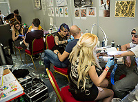 """The other side of the ink"", convention di tatuaggio femminile, Roma, 12 marzo 2017.<br /> ""The other side of the ink"" female art tattoo convention in Rome, 12 March 2017.<br /> UPDATE IMAGES PRESS/Riccardo De Luca"