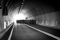 peloton at the highest point of the course: the Passo Del Turchino (532m) tunnel<br /> <br /> 108th Milano - Sanremo 2017