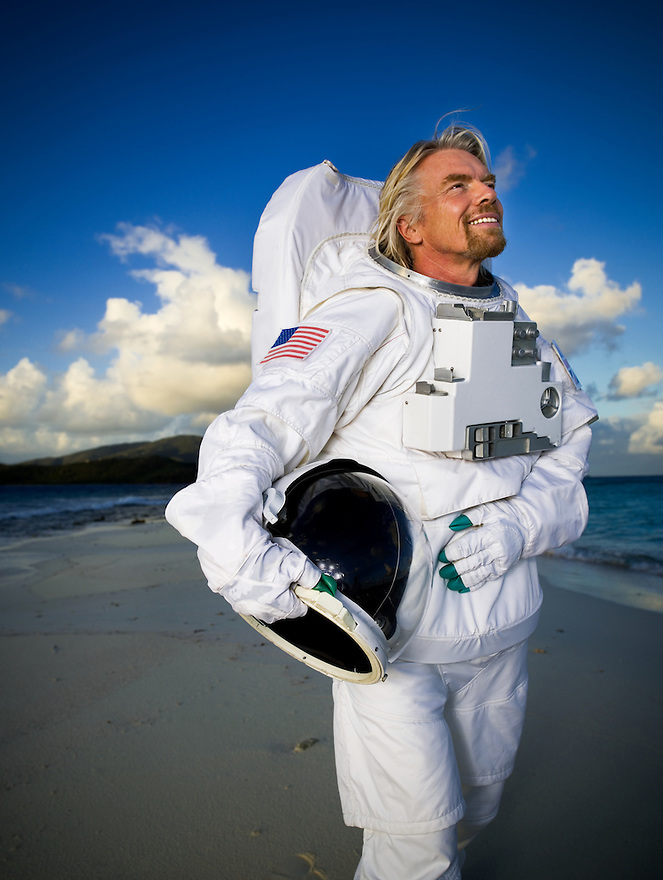 Richard Branson photographed on Necker Island, BVI for Virgin Galactic story in Time Magazine