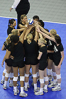 Omaha, NE - DECEMBER 20:  (Not in order) Outside hitter Cynthia Barboza #1, middle blocker Janet Okogbaa #2, setter Joanna Evans #3, outside hitter Alex Fisher #5, defensive specialist Katherine Knox #6, middle blocker Jessica Walker #7, outside hitter/setter Cassidy Lichtman #8, libero Gabi Ailes #9, outside hitter Alix Klineman #10, defensive specialist Jessica Fishburn #11, outside hitter Erin Waller #12, defensive specialist Katherine Sebastian #14, middle blocker Stephanie Browne #15, and middle blocker Foluke Akinradewo #16 of the Stanford Cardinal during Stanford's 20-25, 24-26, 23-25 loss against the Penn State Nittany Lions in the 2008 NCAA Division I Women's Volleyball Final Four Championship match on December 20, 2008 at the Qwest Center in Omaha, Nebraska.