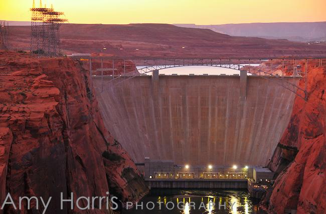 Glen Canyon Dam at sunset on the Colorado River at Page, Arizona.