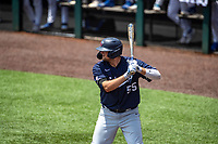 Liberty Flames first baseman Logan Mathieu (55) at bat against the Duke Blue Devils in NCAA Regional play on Robert M. Lindsay Field at Lindsey Nelson Stadium on June 4, 2021, in Knoxville, Tennessee. (Danny Parker/Four Seam Images)