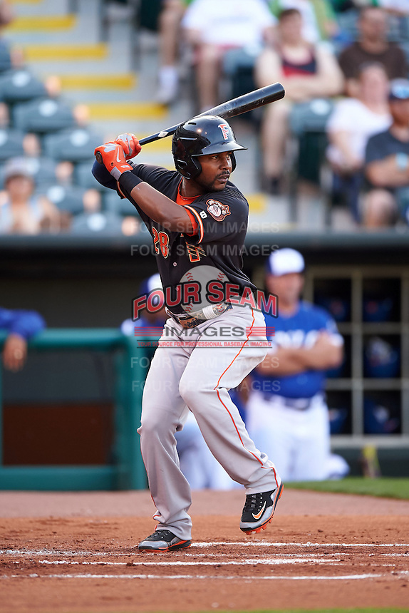 Fresno Grizzles outfielder L.J. Hoes (28) at bat during a game against the Oklahoma City Dodgers on June 1, 2015 at Chickasaw Bricktown Ballpark in Oklahoma City, Oklahoma.  Fresno defeated Oklahoma City 14-1.  (Mike Janes/Four Seam Images)