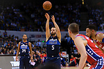 Jose Juan Barea of Dallas Mavericks (C) in action during the NBA China Games 2018 match between Dallas Mavericks and Philadelphia 76ers at Universiade Center on October 08 2018 in Shenzhen, China. Photo by Marcio Rodrigo Machado / Power Sport Images