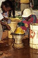 Ivory Coast (Cote d'Ivoire).  Gold ingot, two weeks' production, Afema Mine.