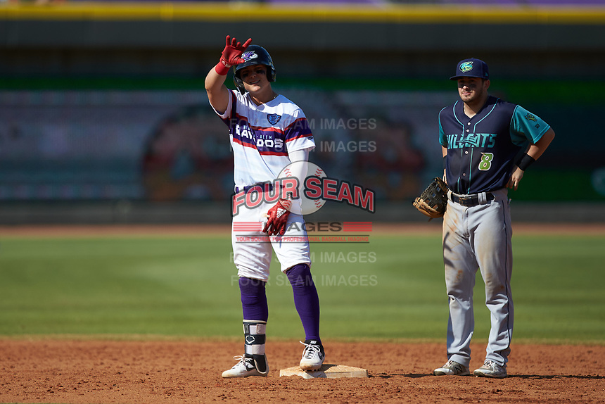 Steele Walker (6) of the Winston-Salem Rayados signals to his bench after hitting a double against the Lynchburg Hillcats at BB&T Ballpark on June 23, 2019 in Winston-Salem, North Carolina. The Hillcats defeated the Rayados 12-9 in 11 innings. (Brian Westerholt/Four Seam Images)