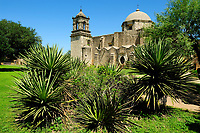 San Jose mission near San Antonio, South of Texas, USA, United States. Soon after the building of the Alamo, a second mission was founded in 1720 about five miles downstream. Named San Jose, this new mission was established by Fray Antonio Margil de Jesus, who had previously left a failed mission in East Texas. A model among the Texas missions, San Jose gained a reputation as a major social and cultural center. Among the San Antonio missions, it also provided the strongest garrison against raids from Indians.