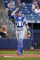 Mesa Solar Sox catcher Cael Brockmeyer (16) during an Arizona Fall League game against the Peoria Javelinas on October 21, 2015 at Peoria Stadium in Peoria, Arizona.  Peoria defeated Mesa 5-3.  (Mike Janes/Four Seam Images)