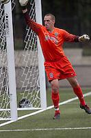 Quinnipiac University goalkeeper Kyle Moscovics (0) is alert on a wide shot. Boston College defeated Quinnipiac, 5-0, at Newton Soccer Field, September 1, 2011.