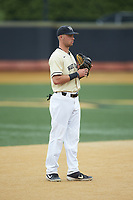 Wake Forest Demon Deacons third baseman Bruce Steel (17) on defense against the Miami Hurricanes at David F. Couch Ballpark on May 11, 2019 in  Winston-Salem, North Carolina. The Hurricanes defeated the Demon Deacons 8-4. (Brian Westerholt/Four Seam Images)