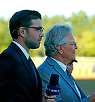 September 04, 2021: NBC Sports Analyst Matt Bernier (left) and trainer Bill Mott (right) watch as War Like Goddess #3, ridden by jockey Julien Leparoux wins the Grade 1 Flower Bowl Stakes on the turf at Saratoga Race Course in Saratoga Springs, N.Y. on September 4th, 2021. Dan Heary/Eclipse Sportswire/CSM