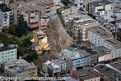 aerial photograph landslide Telegraph Hill San Francisco, California
