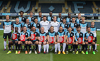The Wycombe Wanderers Team Photo 2015/16 the team hold up Red Card to Racism during Wycombe Wanderers Team Photoshoot 2015  at Adams Park, High Wycombe, England on 3 August 2015. Photo by PRiME Media Images.