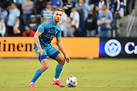 KANSAS CITY, KS - MAY 29: Adam Lundkvist #3 Houston Dynamo with the ball during a game between Houston Dynamo and Sporting Kansas City at Children's Mercy Park on May 29, 2021 in Kansas City, Kansas.