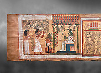 Ancient Egyptian Book of the Dead papyrus - From  tomb of Kha & Merit, Theban Tomb 8 , mid-18th dynasty (1550 to 1292 BC), Turin Egyptian Museum.  Grey background