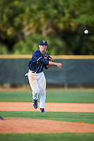 Villanova Wildcats third baseman Juan De La Espriella (16) warmup throw to first base during a game against the Ball State Cardinals on March 3, 2017 at North Charlotte Regional Park in Port Charlotte, Florida.  Ball State defeated Villanova 3-1.  (Mike Janes/Four Seam Images)