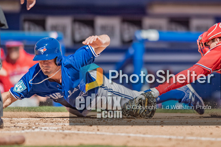 6 March 2019: Toronto Blue Jays outfielder Randal Grichuk is tagged out at the plate for the second out in the 2nd inning of a Spring Training game against the Philadelphia Phillies at Dunedin Stadium in Dunedin, Florida. The Blue Jays defeated the Phillies 9-7 in Grapefruit League play. Mandatory Credit: Ed Wolfstein Photo *** RAW (NEF) Image File Available ***