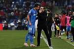 Getafe CF's coach Jose Bordalas (R) have words with -20- (L) during La Liga match between Getafe CF and Valencia CF at Coliseum Alfonso Perez in Getafe, Spain. November 10, 2018.