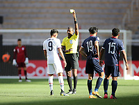 ZAPOPAN, MEXICO - MARCH 21: Jesus Ferreira #9 of the United States receives a yellow card during a game between Dominican Republic and USMNT U-23 at Estadio Akron on March 21, 2021 in Zapopan, Mexico.