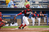 Batavia Muckdogs shortstop Anfernee Seymour (3) at bat during a game against the Williamsport Crosscutters on August 29, 2015 at Dwyer Stadium in Batavia, New York.  Williamsport defeated Batavia 7-3.  (Mike Janes/Four Seam Images)