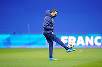 LE HAVRE, FRANCE - APRIL 13: Vlatko Andonovski head coach of the United States holds a ball up before a game between France and USWNT at Stade Oceane on April 13, 2021 in Le Havre, France.