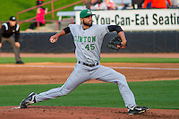 Clinton LumberKings pitcher Lukas Schiraldi (45) delivers a pitch during a Midwest League game against the Wisconsin Timber Rattlers on May 9th, 2016 at Fox Cities Stadium in Appleton, Wisconsin.  Clinton defeated Wisconsin 6-3. (Brad Krause/Four Seam Images)