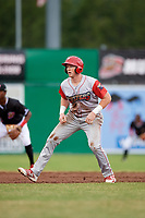 Williamsport Crosscutters first baseman Danny Mayer (34) leads off second base during a game against the Batavia Muckdogs on June 22, 2018 at Dwyer Stadium in Batavia, New York.  Williamsport defeated Batavia 9-7.  (Mike Janes/Four Seam Images)