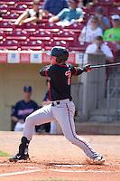 Lansing Lugnuts outfielder Chris Hawkins #7 bats during a game against the Cedar Rapids Kernels at Veterans Memorial Stadium on April 30, 2013 in Cedar Rapids, Iowa. (Brace Hemmelgarn/Four Seam Images)