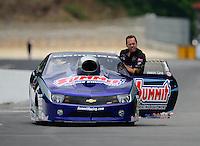 Jun. 17, 2012; Bristol, TN, USA: NHRA pro stock driver Jason Line during the Thunder Valley Nationals at Bristol Dragway. Mandatory Credit: Mark J. Rebilas-
