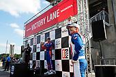 #10: Alex Palou, Chip Ganassi Racing Honda, #12: Will Power, Team Penske Chevrolet, #9: Scott Dixon, Chip Ganassi Racing Honda celebrate in victory lane