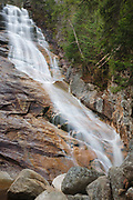 Crawford Notch State Park - Ripley Falls on Avalanche Brook in Hart's Location, New Hampshire USA during the autumn months. The Arethusa-Ripley Falls Trail travels pass this scenic waterfall. Discovered in the 1850s (maybe earlier), this waterfall is named for H.W. Ripley.