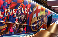 Players tunnel leading to the pitch at Camp Nou stadium, Barcelona, Spain.