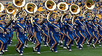 The University of Pittsburgh marching band performs before the game. The Miami Hurricanes football team defeated the Pitt Panthers 16-12 in a game at Heinz Field, Pittsburgh, Pennsylvania on October 26, 2019.