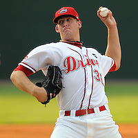 July 25, 2009: Greenville Drive LHP Nick Hagadone (32) threw three scoreless innings in a game at Fluor Field at the West End in Greenville, S.C. Hagadone, recovering from Tommy John surgery in 2008, was limited by pitch count to three innings. Photo by: Tom Priddy/Four Seam Images
