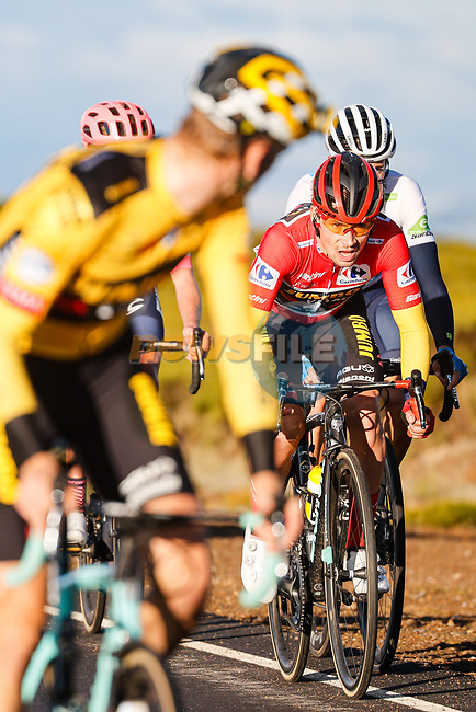 Lennard Hofstede (NED) Team Jumbo-Visma from the breakaway waits up for race leader Primoz Roglic (SLO) Team Jumbo-Visma on the slopes of the Alto de la Covatilla during Stage 17 of the Vuelta Espana 2020, running 178.2km from Sequeros to Alto de la Covatilla, Spain. 7th November 2020. <br /> Picture: Luis Angel Gomez/PhotoSportGomez | Cyclefile<br /> <br /> All photos usage must carry mandatory copyright credit (© Cyclefile | Luis Angel Gomez/PhotoSportGomez)