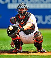 13 March 2009: Baltimore Orioles' catcher Matt Wieters warms his pitcher up prior to a Spring Training game against the St. Louis Cardinals at Fort Lauderdale Stadium in Fort Lauderdale, Florida. The Cardinals defeated the Orioles 6-5 in the Grapefruit League matchup. Mandatory Photo Credit: Ed Wolfstein Photo