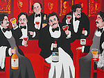 """""""A Gathering of Connoisseurs""""<br /> Limited Edition Lithograph on Paper 21x31<br /> EA w/Original Watercolor Remarque $2,200.<br /> PP w/Original Watercolor Remarque $2,200.<br /> SN $800"""