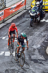 Ide Schelling (NED) Bora-Hansgrohe and Alessandro De Marchi (ITA) CCC Team climb Mur de Huy during La Fleche Wallonne 2020, running 202km from Herve to Mur de Huy, Belgium. 30th September 2020.<br /> Picture: ASO/Gautier Demouveaux | Cyclefile<br /> All photos usage must carry mandatory copyright credit (© Cyclefile | ASO/Gautier Demouveaux)