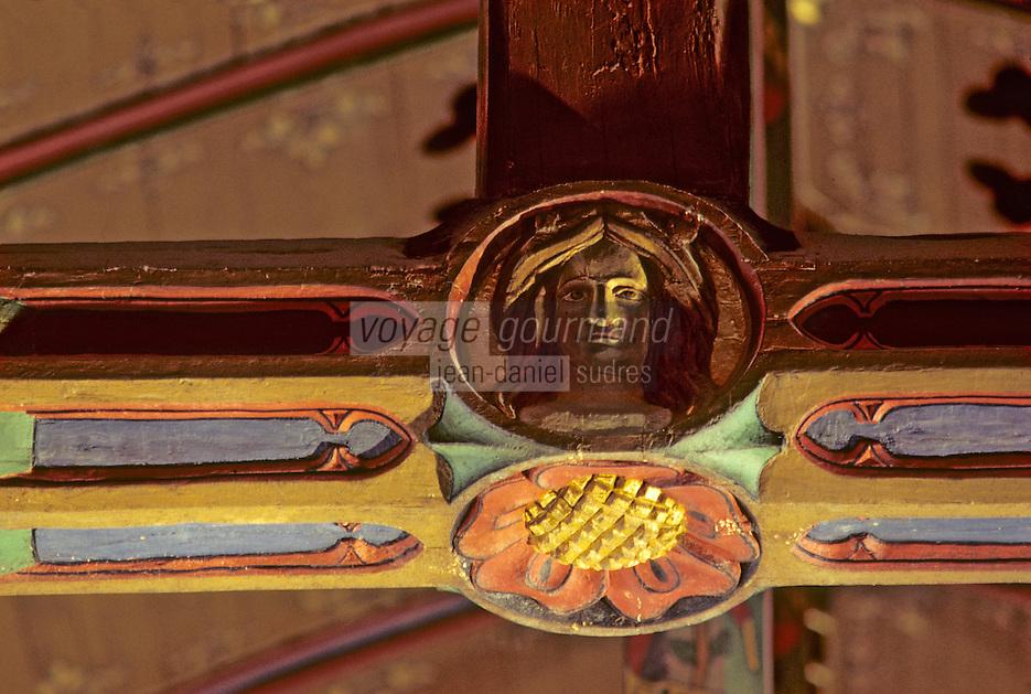 Europe/France/Bourgogne/21/Côte-d'Or/Beaune: Les hospices de Beaune - Salle des pauvres - Détail des poutres [Non destiné à un usage publicitaire - Not intended for an advertising use]